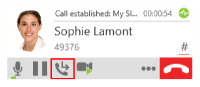 The Transfer this call button on the call panel